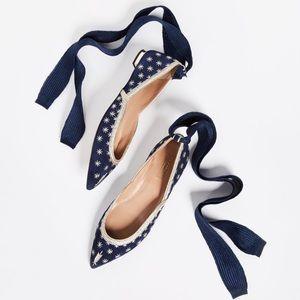 ⭐️AQUAZZURA Bliss Embellished Suede Point-Toe Flat